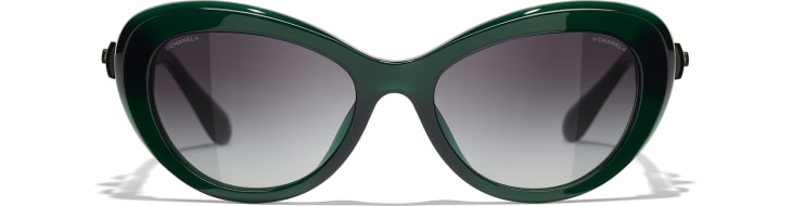 image 2 - Cat Eye Sunglasses - Acetate & Glass Pearls - Dark Green