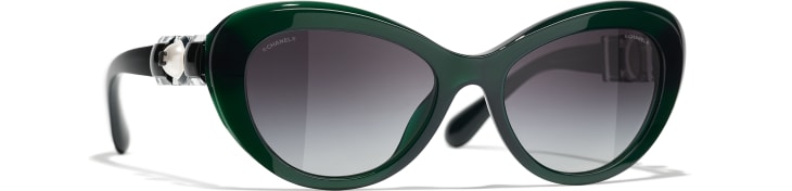 image 1 - Cat Eye Sunglasses - Acetate & Glass Pearls - Dark Green