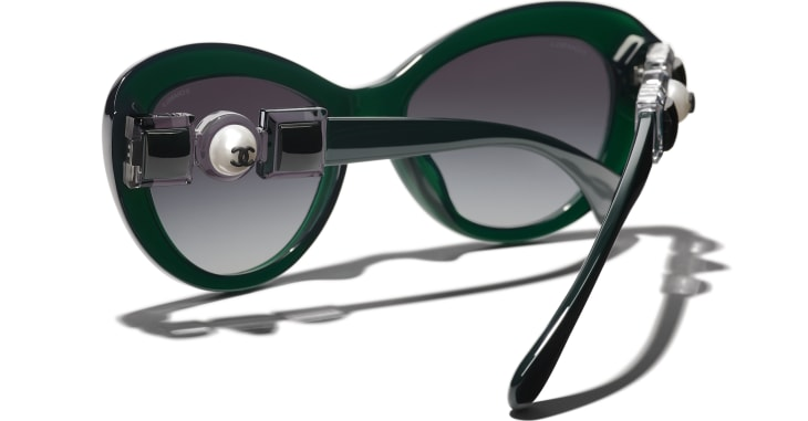 image 4 - Cat Eye Sunglasses - Acetate & Glass Pearls - Dark Green
