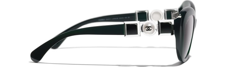 image 3 - Cat Eye Sunglasses - Acetate & Glass Pearls - Dark Green