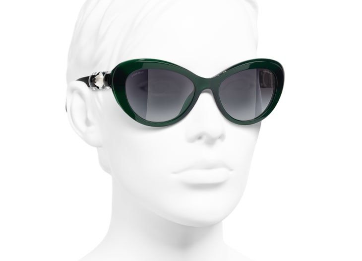 image 6 - Cat Eye Sunglasses - Acetate & Glass Pearls - Dark Green