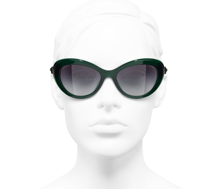 image 5 - Cat Eye Sunglasses - Acetate & Glass Pearls - Dark Green