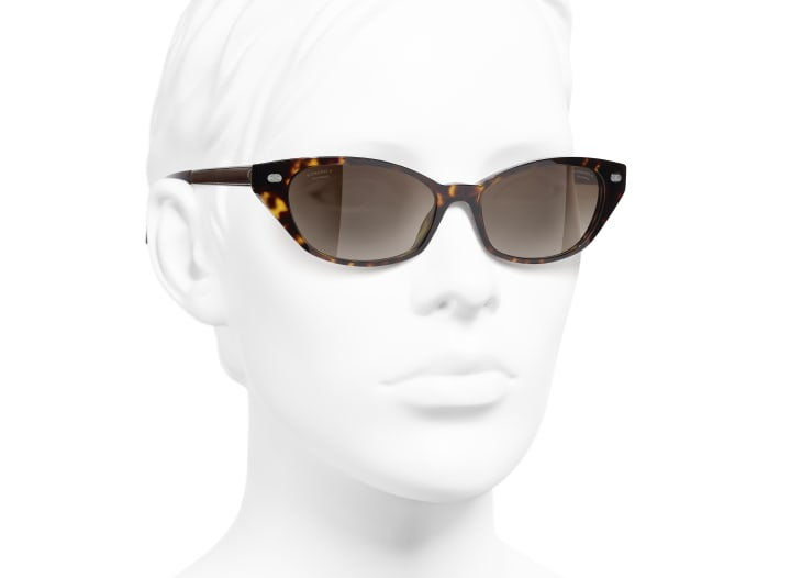 image 6 - Cat Eye Sunglasses - Acetate & Lambskin - Dark Tortoise