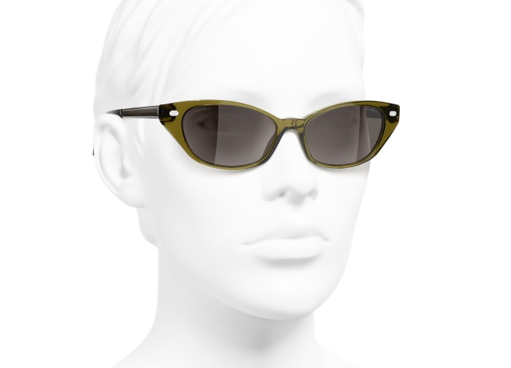 image 6 - Cat Eye Sunglasses - Acetate & Lambskin - Khaki