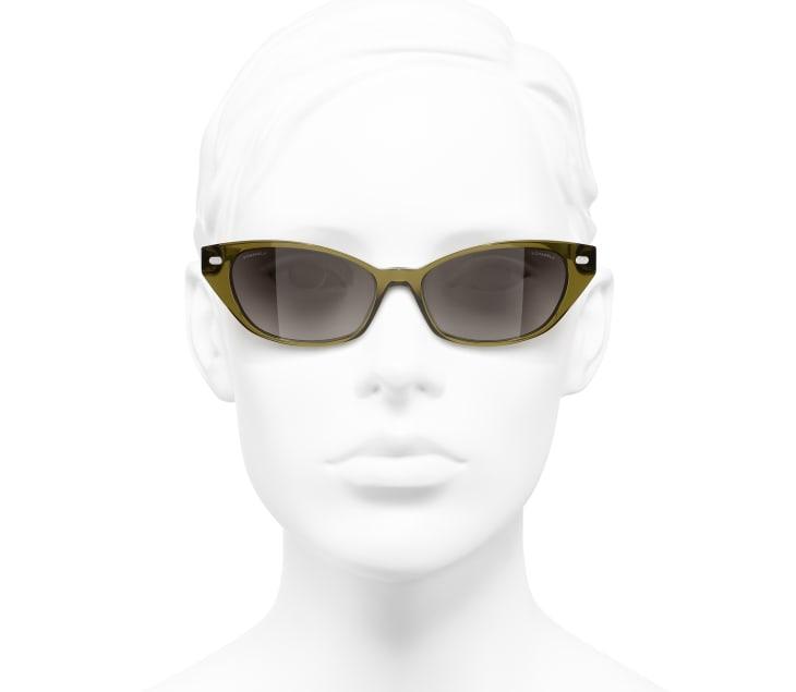 image 5 - Cat Eye Sunglasses - Acetate & Lambskin - Khaki