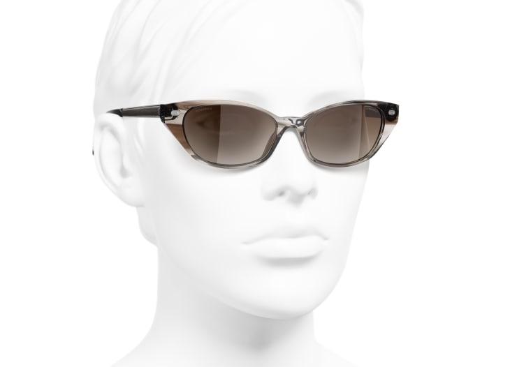 image 6 - Óculos De Sol Em Formato Felinos - Acetato & Couro De Cordeiro - Marrom Claro