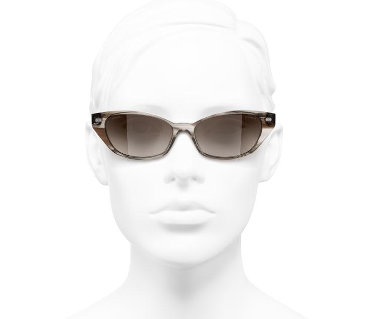 image 5 - Óculos De Sol Em Formato Felinos - Acetato & Couro De Cordeiro - Marrom Claro