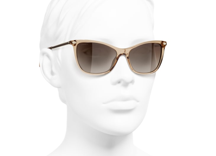 image 6 - Cat Eye Sunglasses - Acetate & Lambskin - Transparent Brown