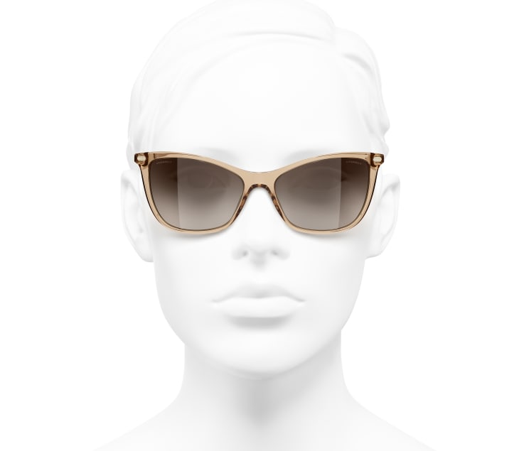 image 5 - Cat Eye Sunglasses - Acetate & Lambskin - Transparent Brown