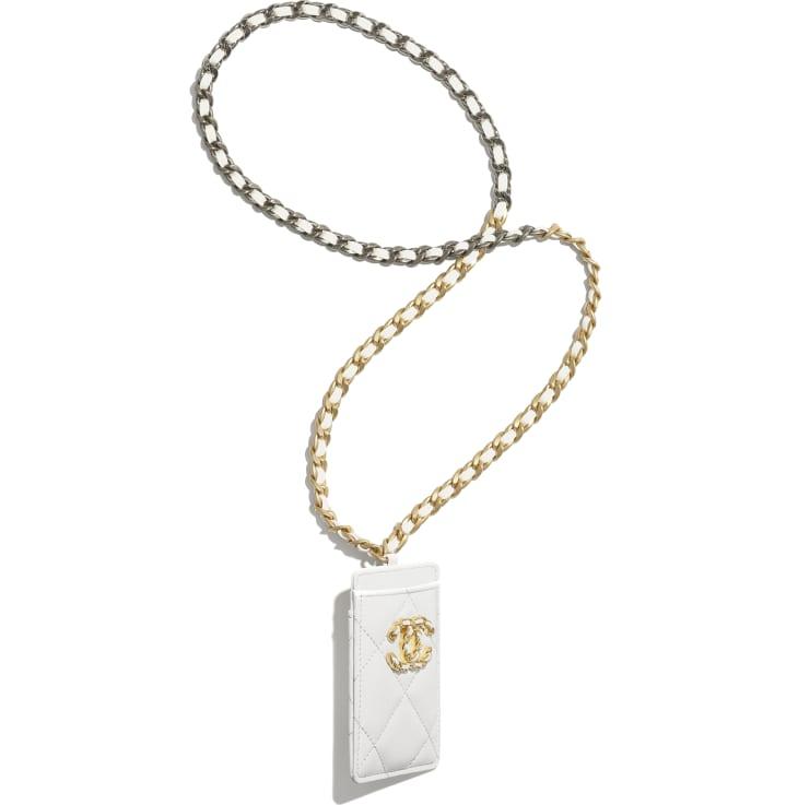 image 2 - Porta Crachá CHANEL 19 - Couro de cordeiro, metal dourado, prateado & rutênio - Branco
