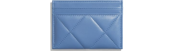 image 2 - CHANEL 19 Card Holder - Lambskin, Gold-Tone, Silver-Tone & Ruthenium-Finish Metal - Blue