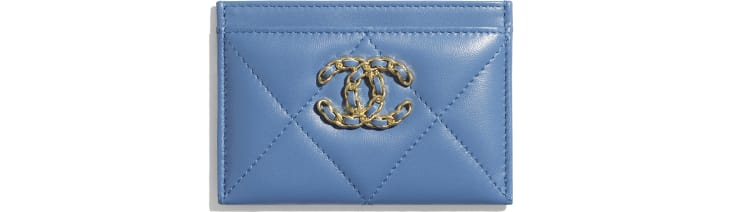 image 1 - CHANEL 19 Card Holder - Lambskin, Gold-Tone, Silver-Tone & Ruthenium-Finish Metal - Blue