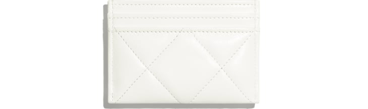 image 2 - CHANEL 19 Card Holder - Lambskin, Gold-Tone, Silver-Tone & Ruthenium-Finish Metal - White