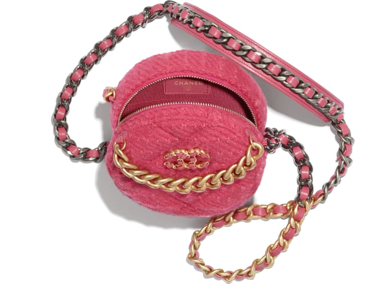 image 2 - CHANEL 19 Clutch with Chain - Wool Tweed, Gold-Tone, Silver-Tone & Ruthenium-Finish Metal - Raspberry Pink