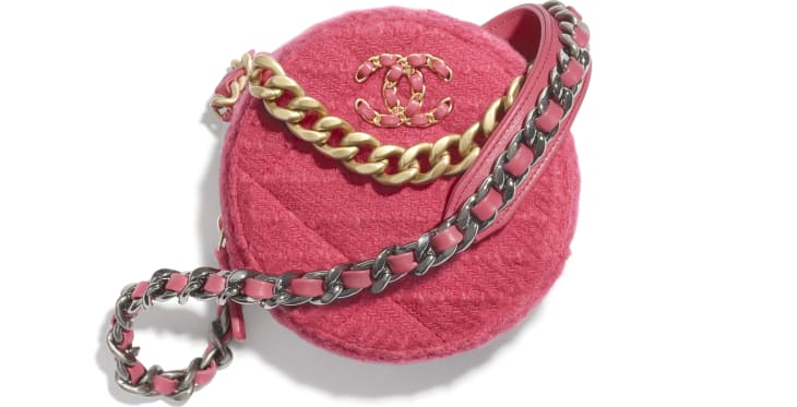 image 1 - CHANEL 19 Clutch with Chain - Wool Tweed, Gold-Tone, Silver-Tone & Ruthenium-Finish Metal - Raspberry Pink