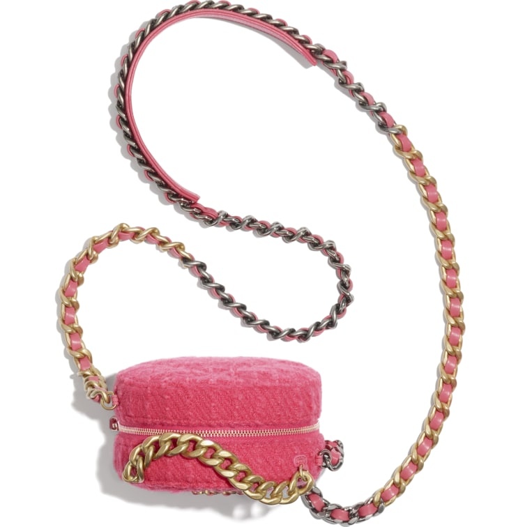 image 3 - CHANEL 19 Clutch with Chain - Wool Tweed, Gold-Tone, Silver-Tone & Ruthenium-Finish Metal - Raspberry Pink
