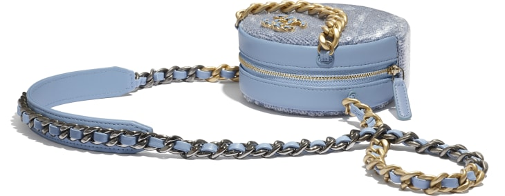 image 4 - CHANEL 19 Clutch with Chain  - Sequins, Calfksin, Silver-Tone & Gold-Tone Metal - Sky Blue