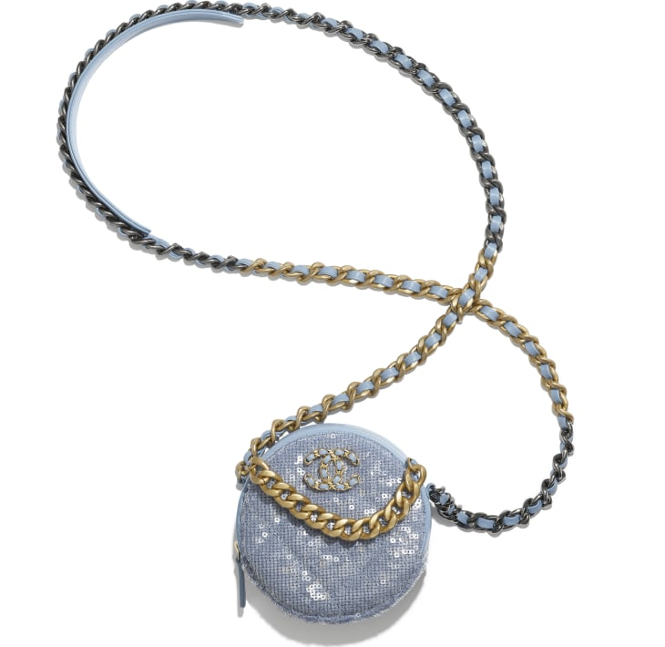 image 3 - CHANEL 19 Clutch with Chain  - Sequins, Calfksin, Silver-Tone & Gold-Tone Metal - Sky Blue