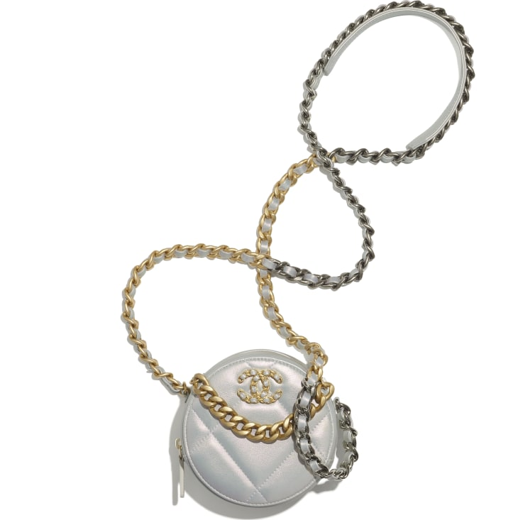 image 2 - CHANEL 19 Clutch with Chain - Iridescent Calfskin, Gold-Tone, Silver-Tone & Ruthenium-Finish Metal - White