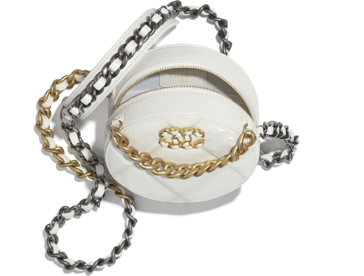 image 2 - CHANEL 19 Clutch with Chain  - Shiny Crumpled Calfskin, Gold-Tone, Silver-Tone & Ruthenium-Finish Metal - White