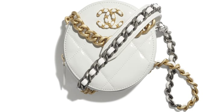 image 1 - CHANEL 19 Clutch with Chain  - Shiny Crumpled Calfskin, Gold-Tone, Silver-Tone & Ruthenium-Finish Metal - White