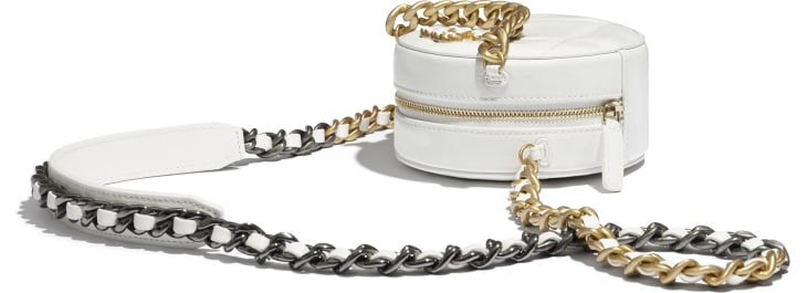 image 4 - CHANEL 19 Clutch with Chain - Shiny Crumpled Calfskin, Gold-Tone, Silver-Tone & Ruthenium-Finish Metal - White