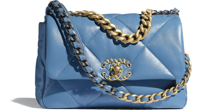 image 1 - CHANEL 19 Flap Bag - Lambskin, Gold-Tone, Silver-Tone & Ruthenium-Finish Metal - Blue
