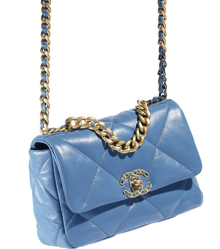 image 4 - Bolsa CHANEL 19 - Couro de cordeiro, metal dourado, prateado & rutênio - Azul