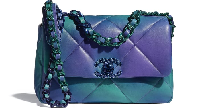 image 1 - CHANEL 19 Flap Bag - Tie and Dye Calfskin & Lacquered Metal - Blue & Purple