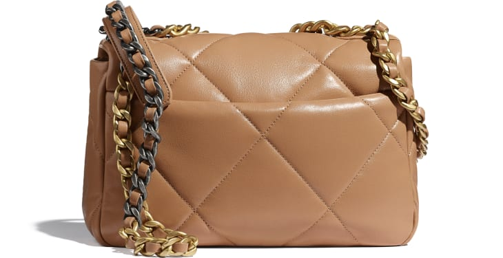 image 2 - CHANEL 19 Flap Bag - Lambskin, Gold-Tone, Silver-Tone & Ruthenium-Finish Metal - Brown