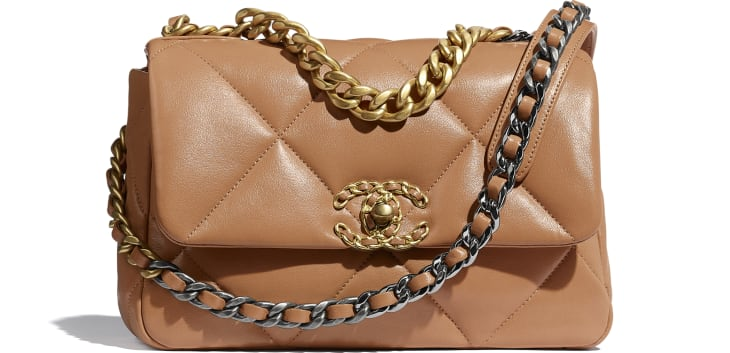 image 1 - CHANEL 19 Flap Bag - Lambskin, Gold-Tone, Silver-Tone & Ruthenium-Finish Metal - Brown