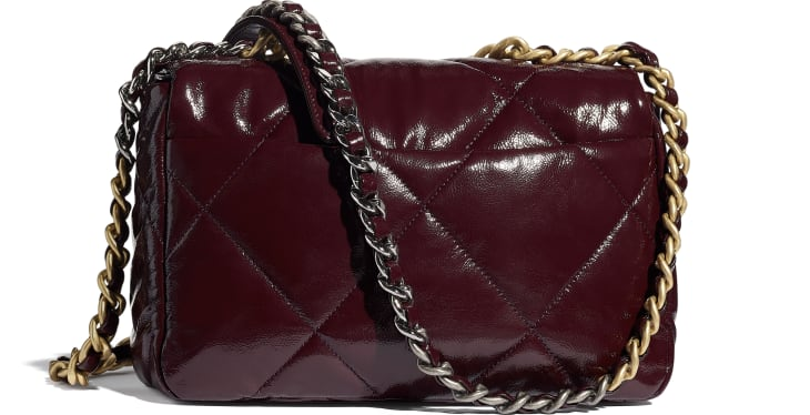image 2 - CHANEL 19 Flap Bag - Shiny Crumpled Calfskin, Gold-Tone, Silver-Tone & Ruthenium-Finish Metal - Burgundy