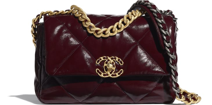 image 1 - CHANEL 19 Flap Bag - Shiny Crumpled Calfskin, Gold-Tone, Silver-Tone & Ruthenium-Finish Metal - Burgundy