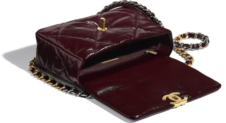 image 3 - CHANEL 19 Flap Bag - Shiny Crumpled Calfskin, Gold-Tone, Silver-Tone & Ruthenium-Finish Metal - Burgundy