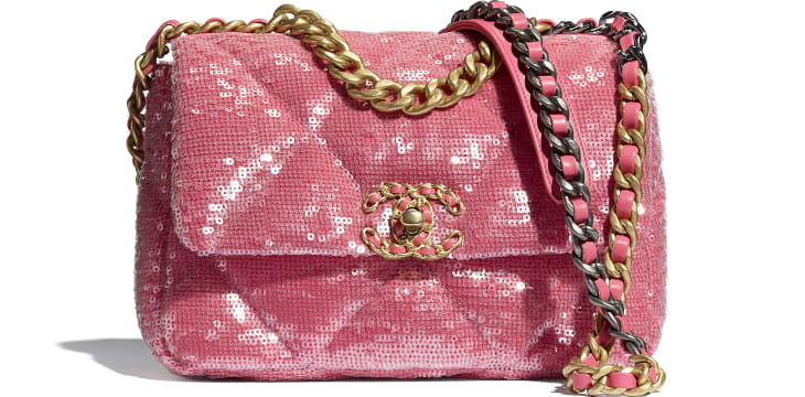image 1 - CHANEL 19 Flap Bag - Sequins, calfksin, silver-tone & gold-tone metal - Coral