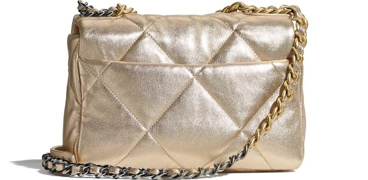 image 2 - CHANEL 19 Flap Bag - Metallic Lambskin, Gold-Tone, Silver-Tone & Ruthenium-Finish Metal - Gold