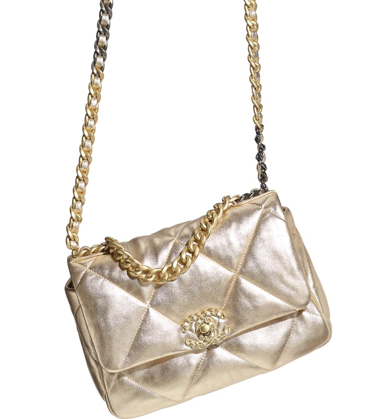 image 4 - CHANEL 19 Flap Bag - Metallic Lambskin, Gold-Tone, Silver-Tone & Ruthenium-Finish Metal - Gold