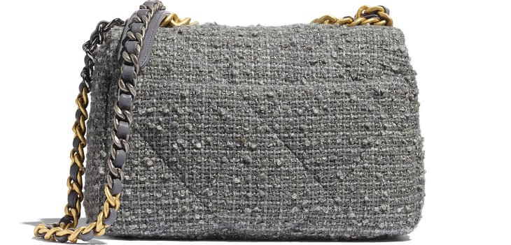 image 2 - CHANEL 19 Flap Bag - Wool Tweed, Gold-Tone, Silver-Tone & Ruthenium-Finish Metal - Grey