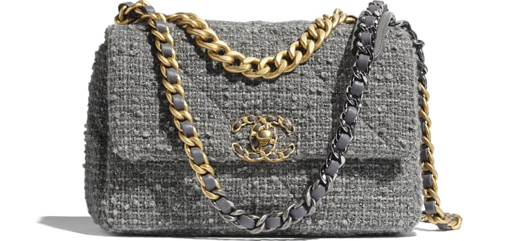 image 1 - CHANEL 19 Flap Bag - Wool Tweed, Gold-Tone, Silver-Tone & Ruthenium-Finish Metal - Grey