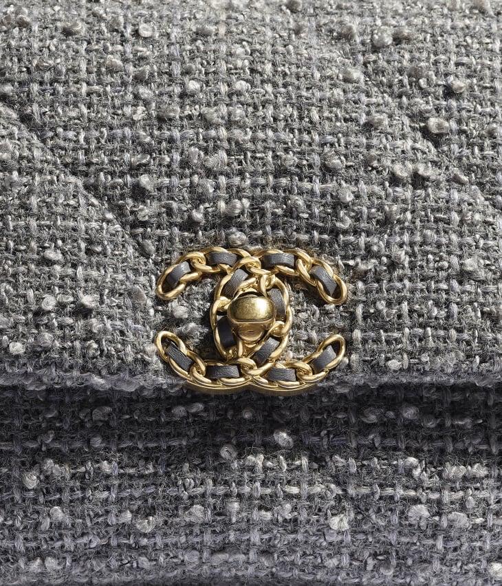 image 4 - CHANEL 19 Flap Bag - Wool Tweed, Gold-Tone, Silver-Tone & Ruthenium-Finish Metal - Grey