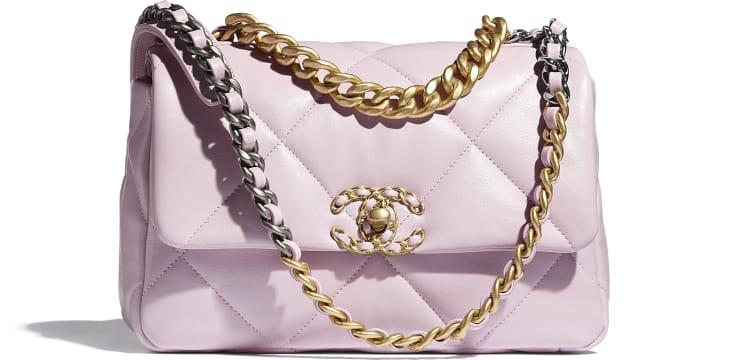 image 1 - CHANEL 19 Flap Bag - Lambskin, Gold-Tone, Silver-Tone & Ruthenium-Finish Metal - Light Pink