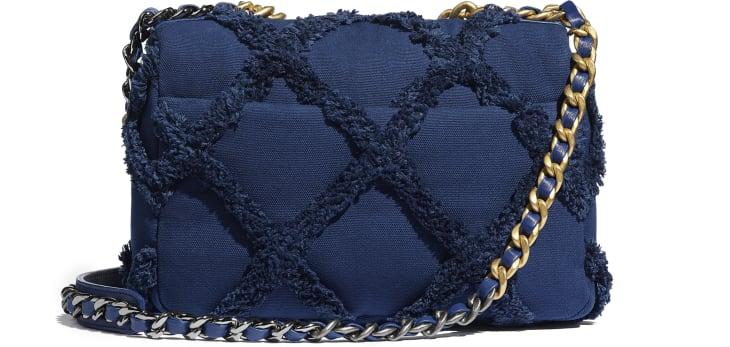 image 2 - CHANEL 19 Flap Bag - Cotton Canvas, Calfskin, Gold-Tone, Silver-Tone & Ruthenium-Finish Metal - Navy Blue