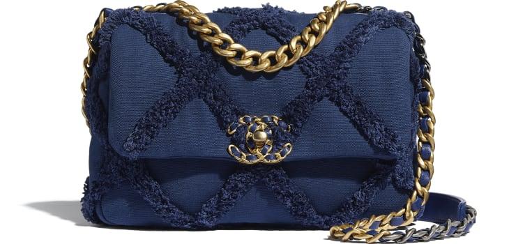 image 1 - CHANEL 19 Flap Bag - Cotton Canvas, Calfskin, Gold-Tone, Silver-Tone & Ruthenium-Finish Metal - Navy Blue