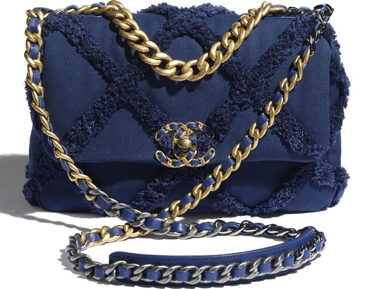 image 4 - CHANEL 19 Flap Bag - Cotton Canvas, Calfskin, Gold-Tone, Silver-Tone & Ruthenium-Finish Metal - Navy Blue
