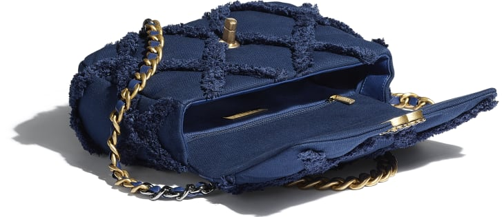 image 3 - CHANEL 19 Flap Bag - Cotton Canvas, Calfskin, Gold-Tone, Silver-Tone & Ruthenium-Finish Metal - Navy Blue