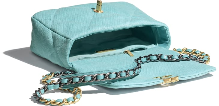 image 3 - CHANEL 19 Flap Bag - Denim, Calfskin, Gold-Tone, Silver-Tone & Ruthenium-Finish Metal - Neon Blue