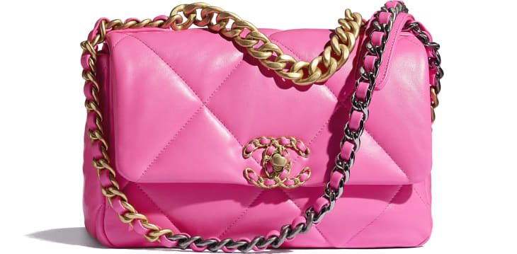 image 1 - CHANEL 19 Flap Bag - Shiny Lambskin, Gold-Tone, Silver-Tone & Ruthenium-Finish Metal - Neon Pink