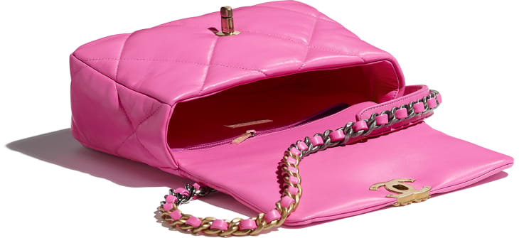 image 3 - CHANEL 19 Flap Bag - Shiny Lambskin, Gold-Tone, Silver-Tone & Ruthenium-Finish Metal - Neon Pink