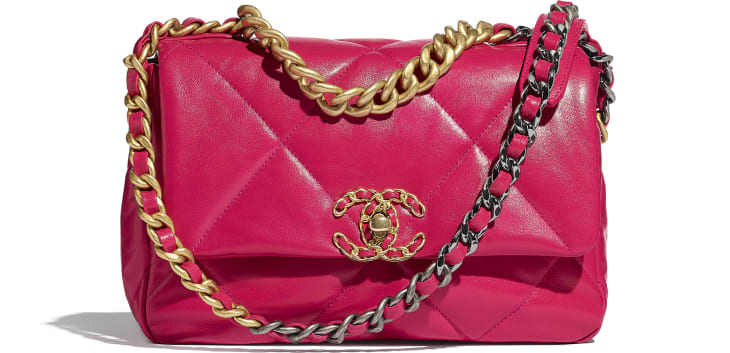 image 1 - CHANEL 19 Flap Bag - Goatskin, Gold-Tone, Silver-Tone & Ruthenium-Finish Metal - Pink