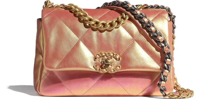 image 1 - CHANEL 19 Flap Bag - Iridescent Calfskin, Gold-Tone, Silver-Tone & Ruthenium-Finish Metal - Pink